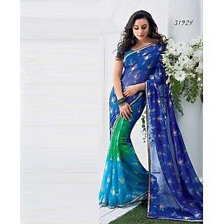 Blue Green Printed Saree