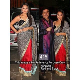 Sonakshi Black And Red Half And Half Saree By Purple Oyster