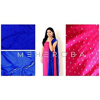 Meheroba Chiffon Pink Top With Free Size Leggins And Chiffon Dupatta