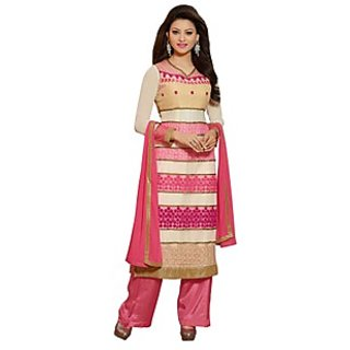 Colors Fashion Off White And Pink Faux Georgette Latest Designer Party Wear Straight Fit Salwar Suit Dress