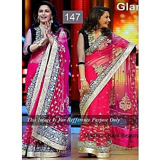 Madhuri Magenta Embroidery Work Bollywood Saree