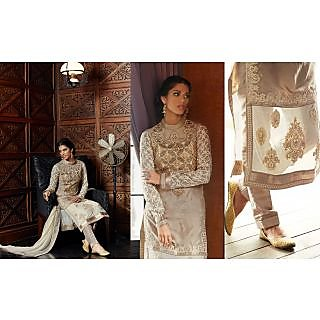 Colors Fashion Cream Silk Latest Designer Party Wear Straight Fit Salwar Suit Dress
