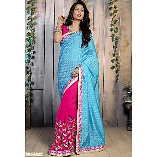 Khushali Women's Sky And Pink Color Jacquard And Chiffon Sarees Material