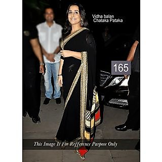 Vidhya Balan Black With Patch Border Embroidery Work Bollywood Saree