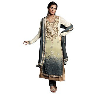 Colors Fashion Cream And Grey Faux Georgette Latest Designer Party Wear Straight Fit Salwar Suit Dress