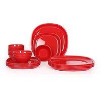 Gluman Microwave Safe Dinner Set - 24 Pcs Square Red