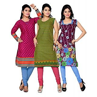 Surat Tex Pink & Green Color Casual Printed Cotton Combo Kurti