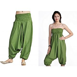 Indian Women's Girl's Green Color Cotton Harem Pants Trouser