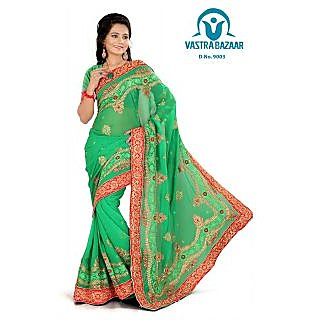 Vastrabazaar 9003a Green Embroidered Faux Georgette Saree With Blouse Piece