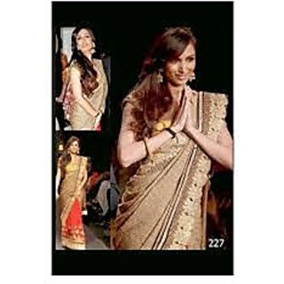 Richlady Fashion Malaika Arora Chiffon & Silk Border Work Cream & Red Saree