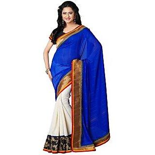 Tamanna Ronak Navy Blue Jaquard  Stylish Printed Saree.