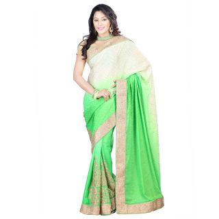 Step4deal Chinnon Shaded Paloo Neon Green Saree With Crepe Fabric 214