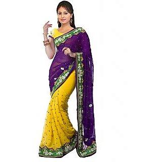 Nairiti Yellow & Purple Semi Chiffon Embroidered Saree