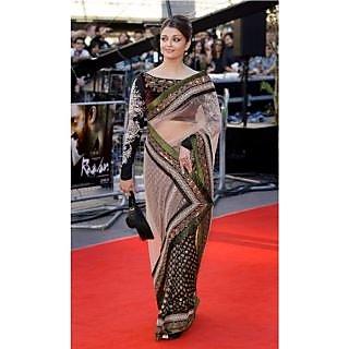Bollywood Sarees: Aishwarya Rai Ravan Premier Black Net Saree - AISRM1101