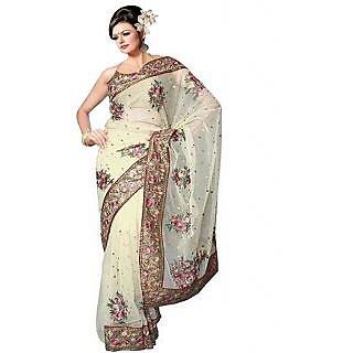 Nairiti White Georgette Multi Embroidered Saree