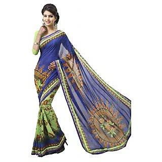 Apka Apna Fashion Blue And Green Color Printed Sarees