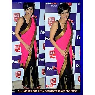 Mandira Bedi Pink Georgette Stylish Bollywood Saree [CLONE]
