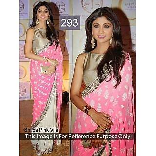 Shilpa Shetty Pink Villa Awesome Designer Half Half Concept Saree - Online Shopp