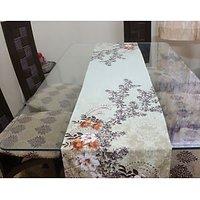 Green Floral Runner - Designer, Fine Digital Print On Pure Cotton Satin Fabric