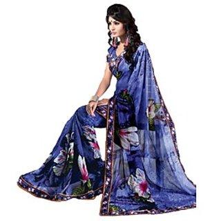 Apka Apna Fashion Navy Blue Color Printed Sarees