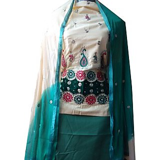 Cotton Embroidered Unstiched Dress Material Green