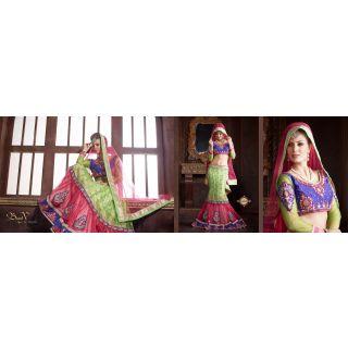 Green & Pink Pure Silkt-Net Indian Embroidery Designer Lehenga-Choli