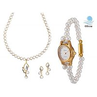 Oleva Combo Set Of 2 Ladies White Pearl Pendant Set With Ladies Pearl Watch OHD 78