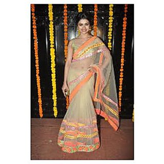 Richlady Fashion Prachi Desai Net Border Work Cream Saree