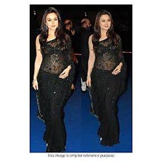 Richlady Fashion Preity Zinta Net Thread Work Black Saree