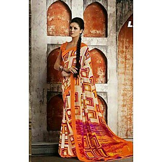 Zara Off White With Orange Border & Purple Maroon Print Chiffon Saree