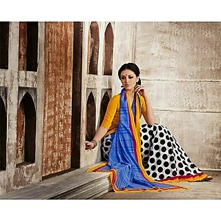 Zara White With Black Polka Dots And Blue Pallu, Yellow-Red Border Chiffon Saree