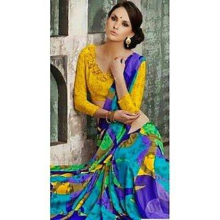 Zara Indigo-Yellow-Purple Print, Yellow Border Chiffon Saree