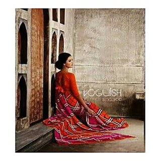 Zara Pink Orange Checks Chiffon Saree
