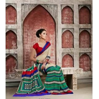Zara Creame-Green Print, Red-Blue Border Chiffon Saree