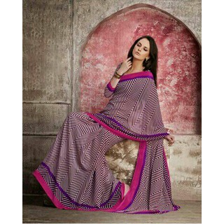 Zara Purple Print, Purple-Pink Border Chiffon Saree