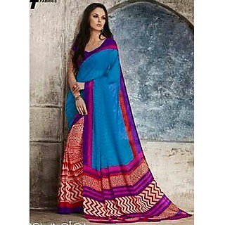 Zara Blue Red Print, Red-Purple Border Chiffon Saree