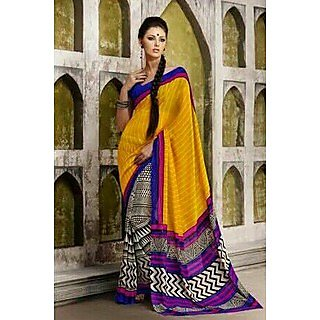 Zara Yellow Black Print,Blue-Pink Border Chiffon Saree