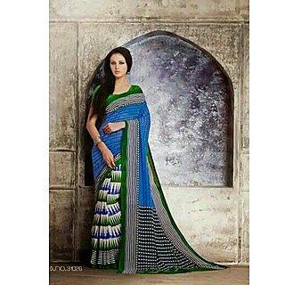 Zara Blue With Blue-Green Print On White, Green-Black Border Chiffon Saree