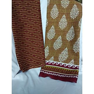Polyester Printed Unstiched Dress Material Maroon