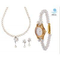 Oleva Combo Set Of 2 Ladies White Pearl Pendant Set With Ladies Pearl Watch OHD 75
