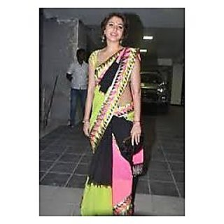 Richlady Fashion Anushka Sharma Georgette Border Work Multicolour Saree