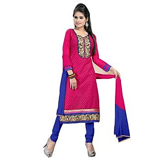 Latest New Pink And Blue Colour Designer Dress Material