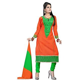 Exclusive Orange And Green Designer Churidar Salwar Suit