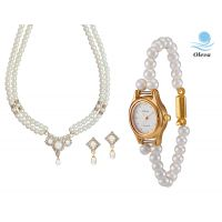 Oleva Combo Set Of 2 Ladies White Pearl Pendant Set With Ladies Pearl Watch OHD 88
