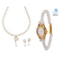 Oleva Combo Set Of 2 Ladies White Pearl Pendant Set With Ladies Pearl Watch OHD 74