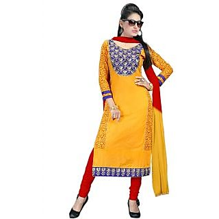 New Half Sleeve Yellow And Red Churidar Salwar Suit