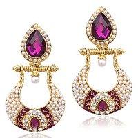 Adiva Antique Victorian Fusion India-British Sparkling Stone Pearl Polki Earring
