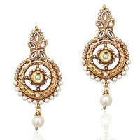 Adiva Fine Golden Finish & Exquisite Meenakari White Pearl Polki Earring