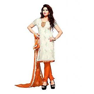 Enriching Off White & Orange Churidar Salwar Kameez