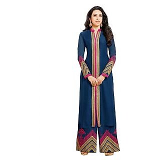 Karishma Kapoor Navy Blue Designer Straight Suit With Plazo Bottom JN1100